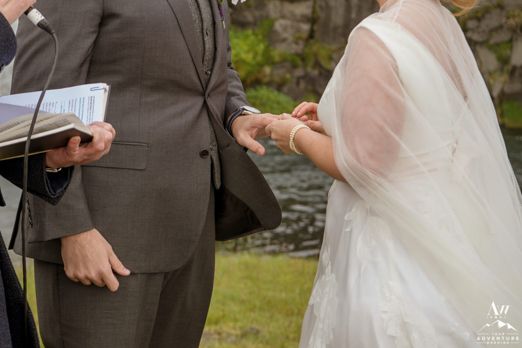 Exchanging rings on Iceland Wedding Day