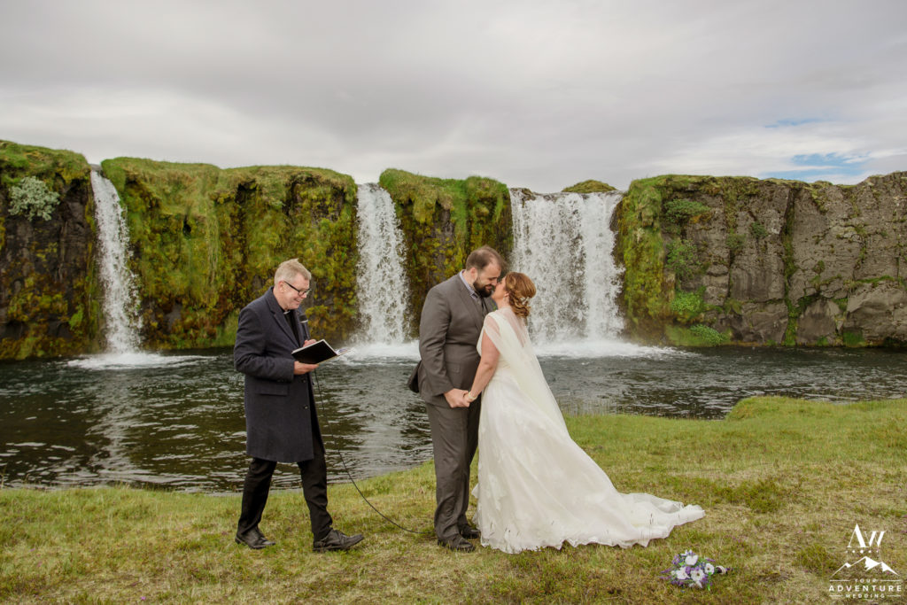 Iceland Wedding Couple kissing at ceremony