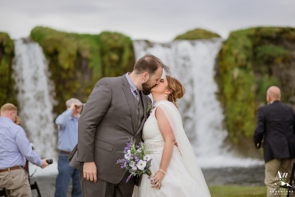 Iceland Wedding Kiss after waterfall ceremony