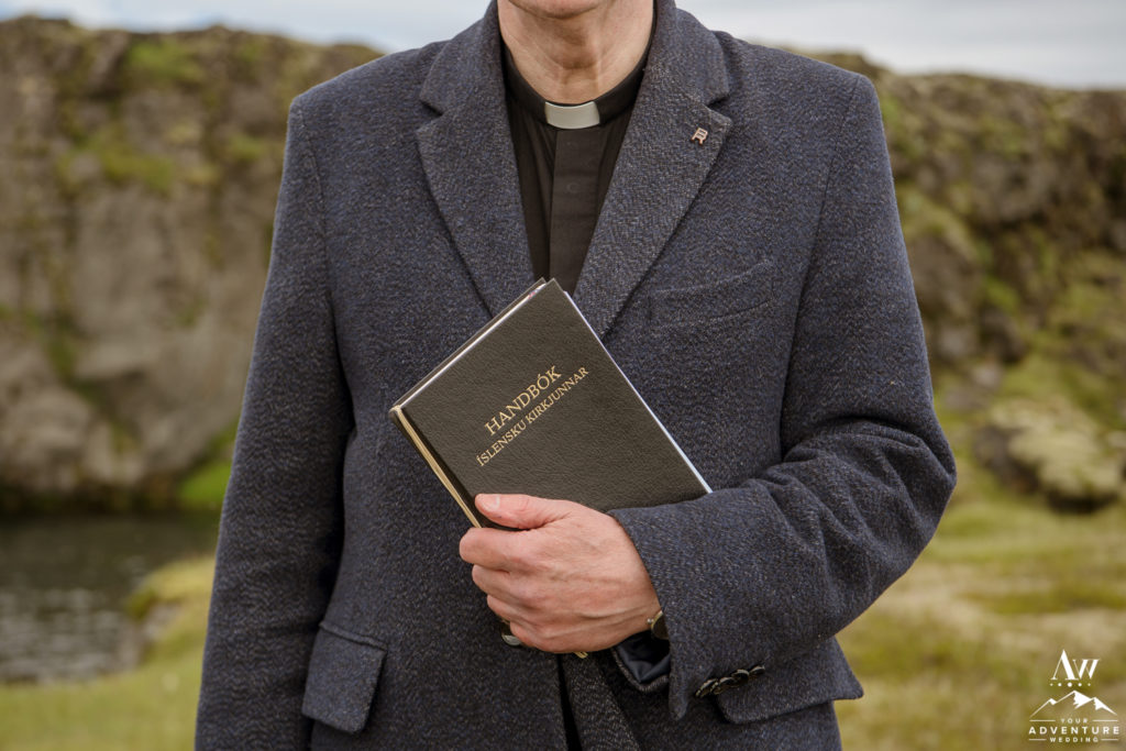 Icelandic Pastor during wedding ceremony