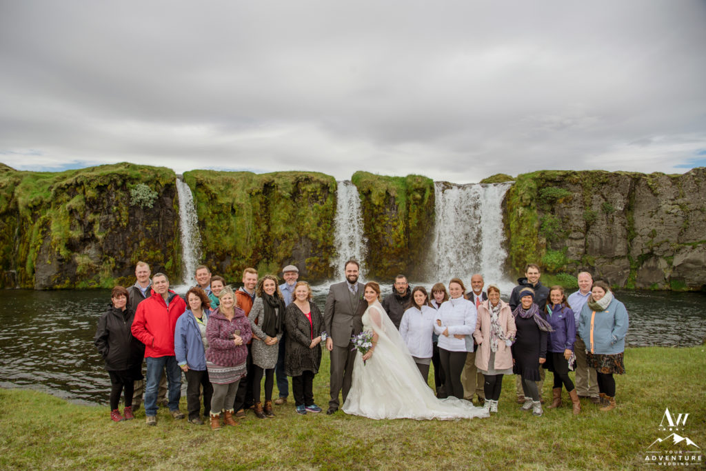 Iceland Wedding Group at a Private Waterfall