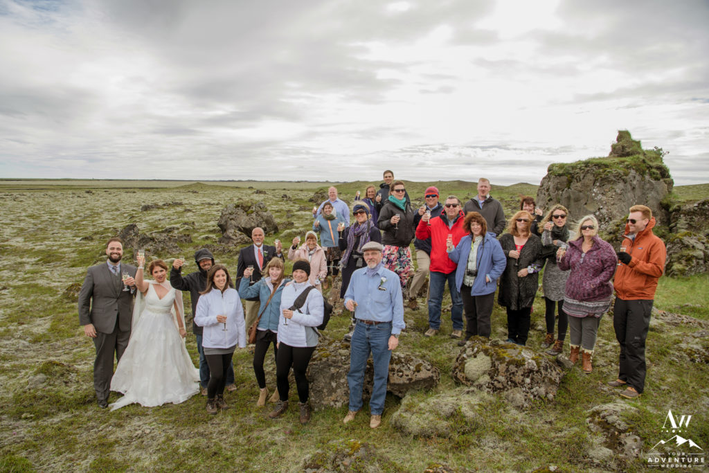 Iceland Wedding Guests cheersing after ceremony