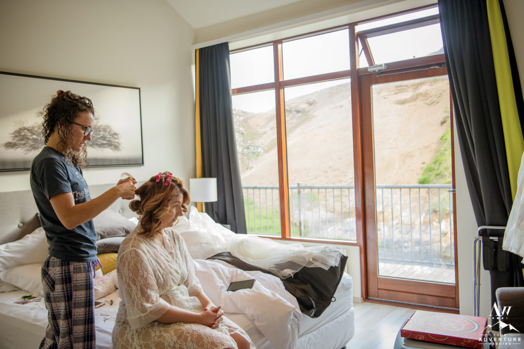 Bride getting ready for Iceland wedding day