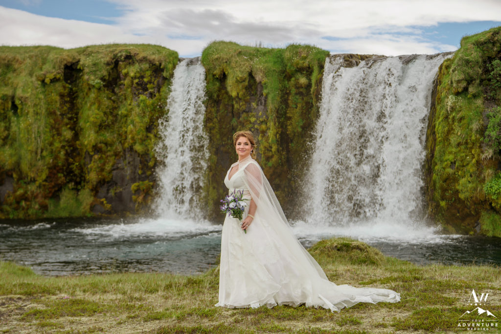 Bridal Portraits at Private Waterfall in Iceland