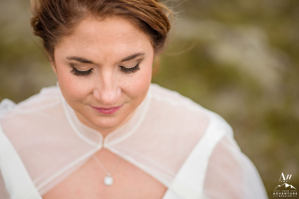 Closeup of Iceland Bridal Makeup
