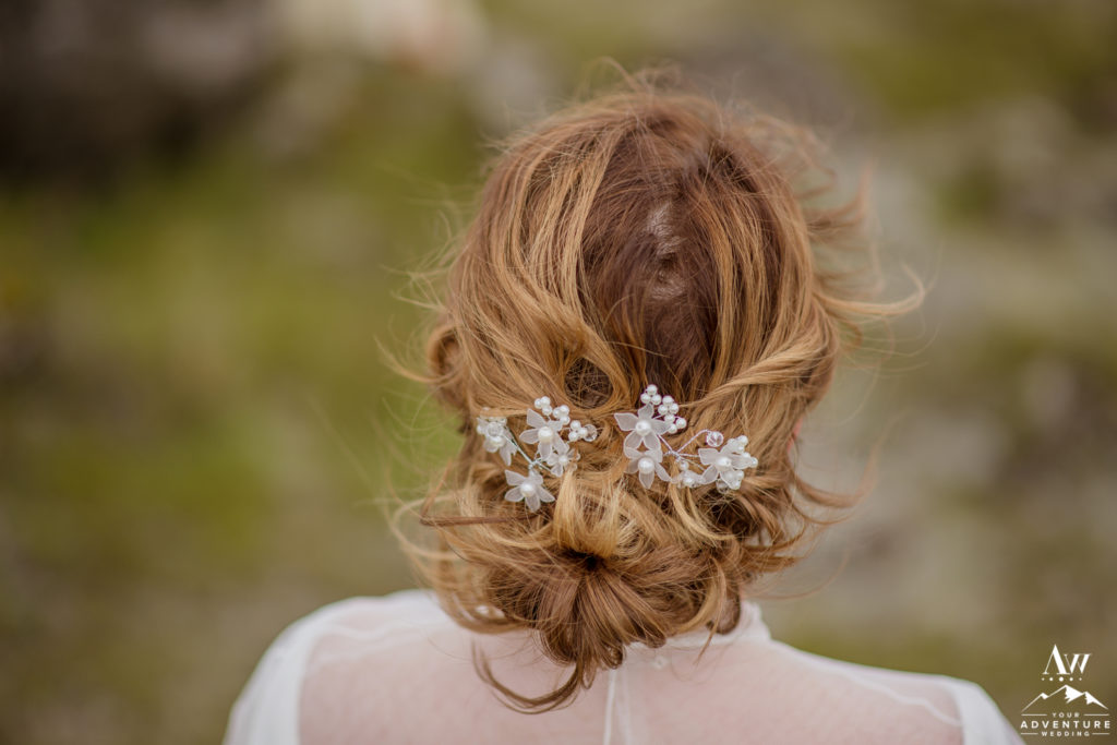 Adventure Wedding Hairstyle in Iceland