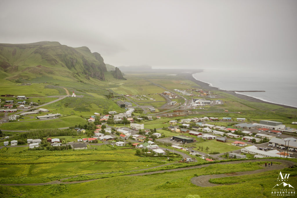 The town of Vik Iceland in July