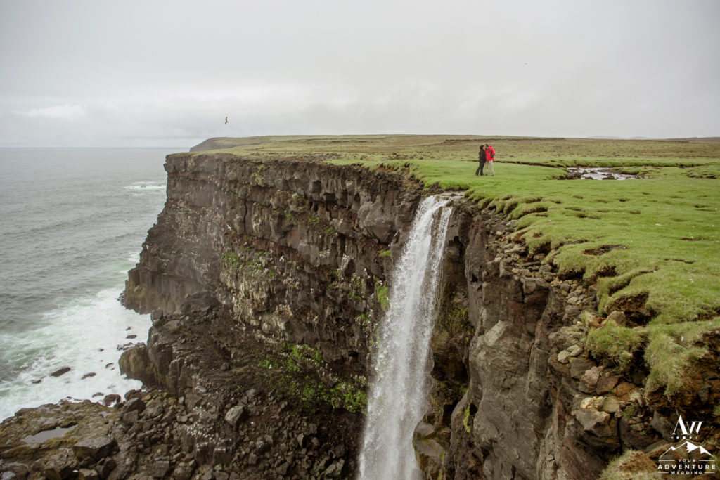 Iceland Waterfall Proposal on a Cliff