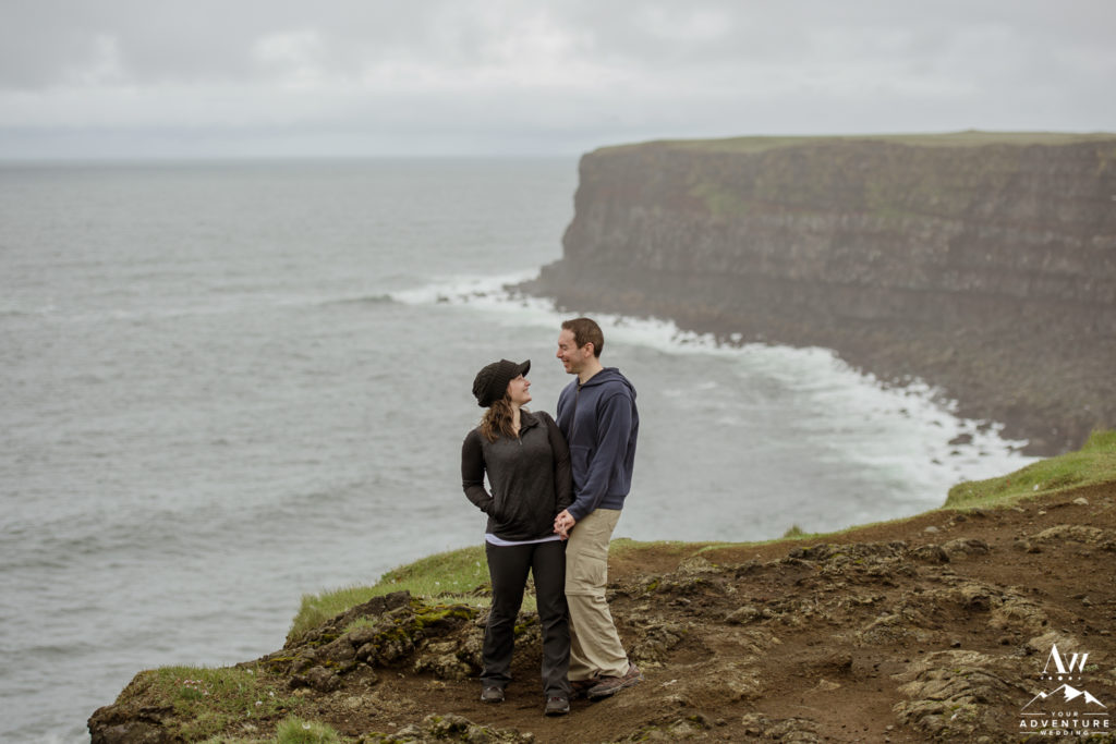 Iceland Engagement Photo couple looking at each other