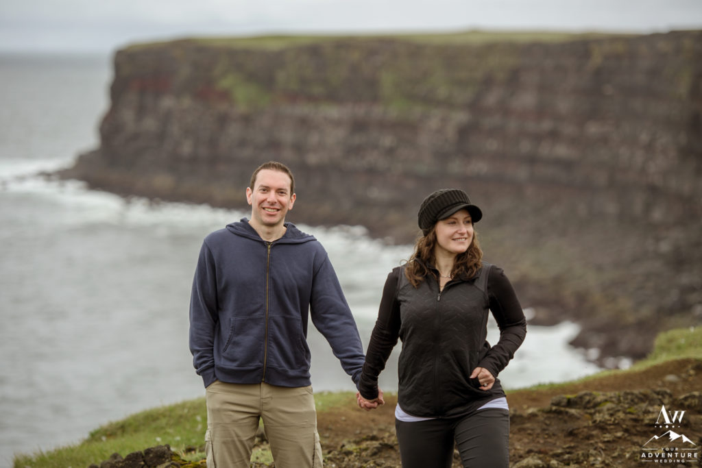 Cliff Side Engagement Photos in Iceland
