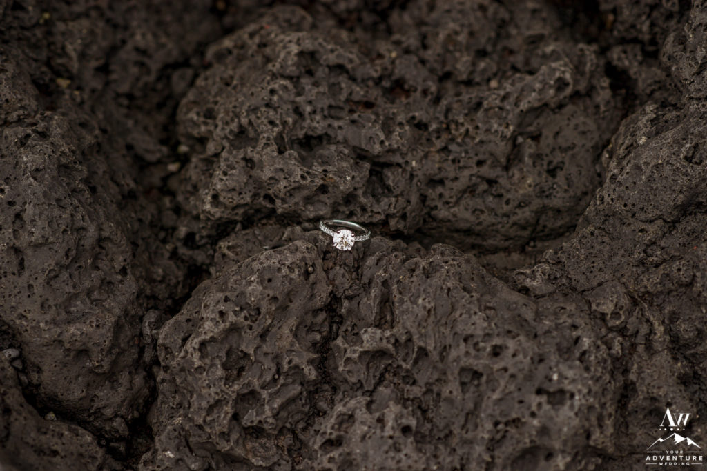 Iceland Engagement Ring on Lava Rocks