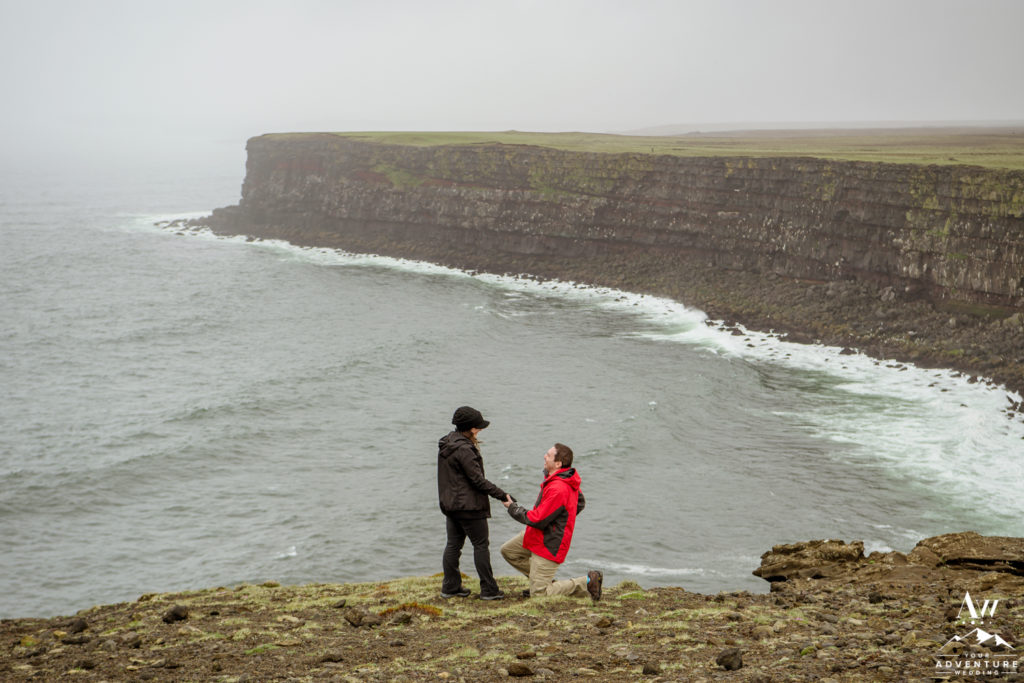 Cliff side proposal in Iceland