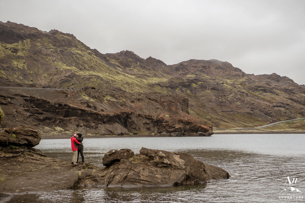 Iceland Engagement Photos at a lake