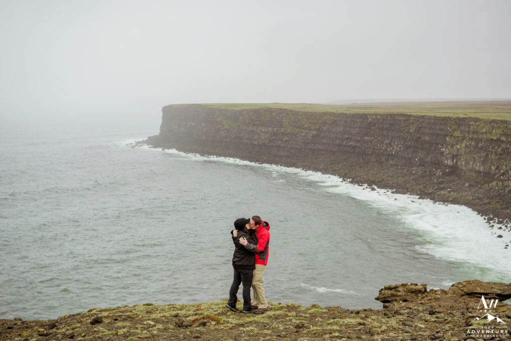 Iceland marriage proposal in the rain