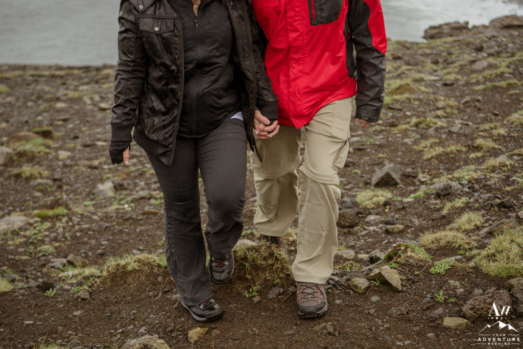 Adventurous Couple Engaged and Hiking in Iceland