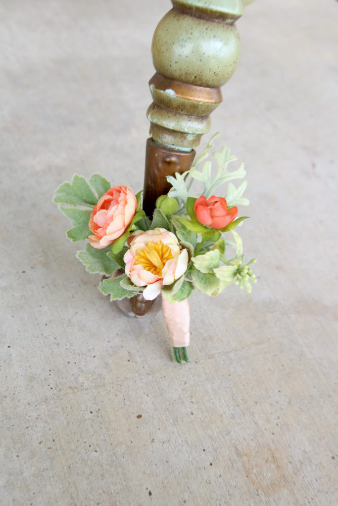 Peach Iceland Groom Buttonhole