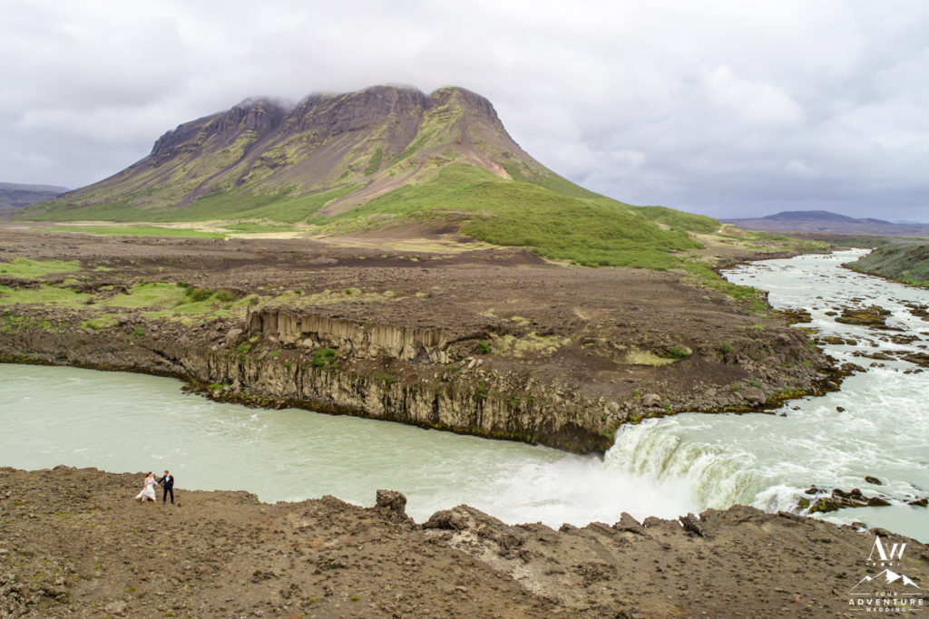 Iceland Wedding Drone Photos at a waterfall and mountain
