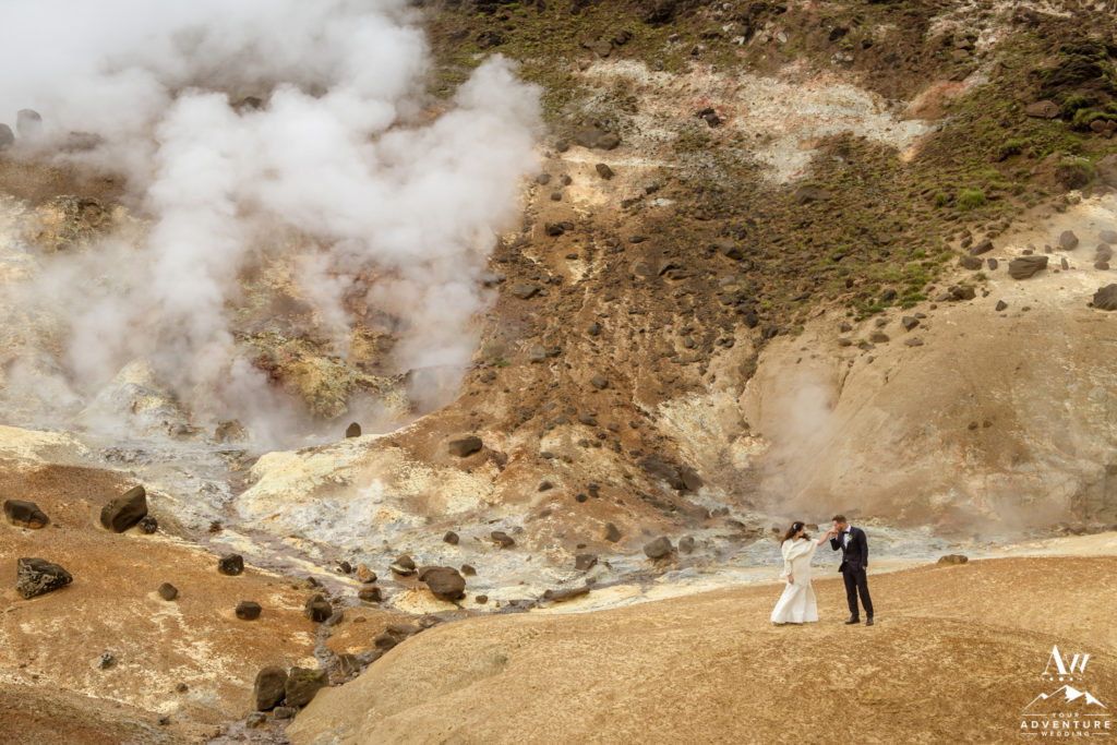 Iceland Wedding Couple exploring a unique geothermal area