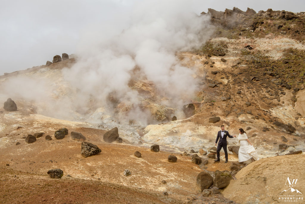 Iceland Wedding Couple walking in geothermal area