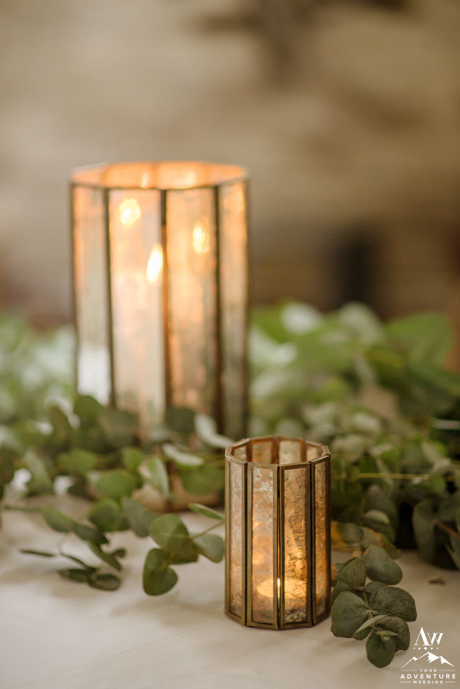 Antique Wedding Reception Candles at Iceland Wedding Reception