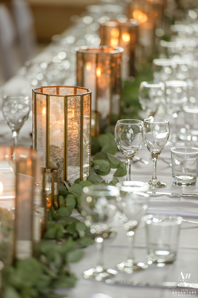 Iceland Wedding Reception Candles with Eucalyptus