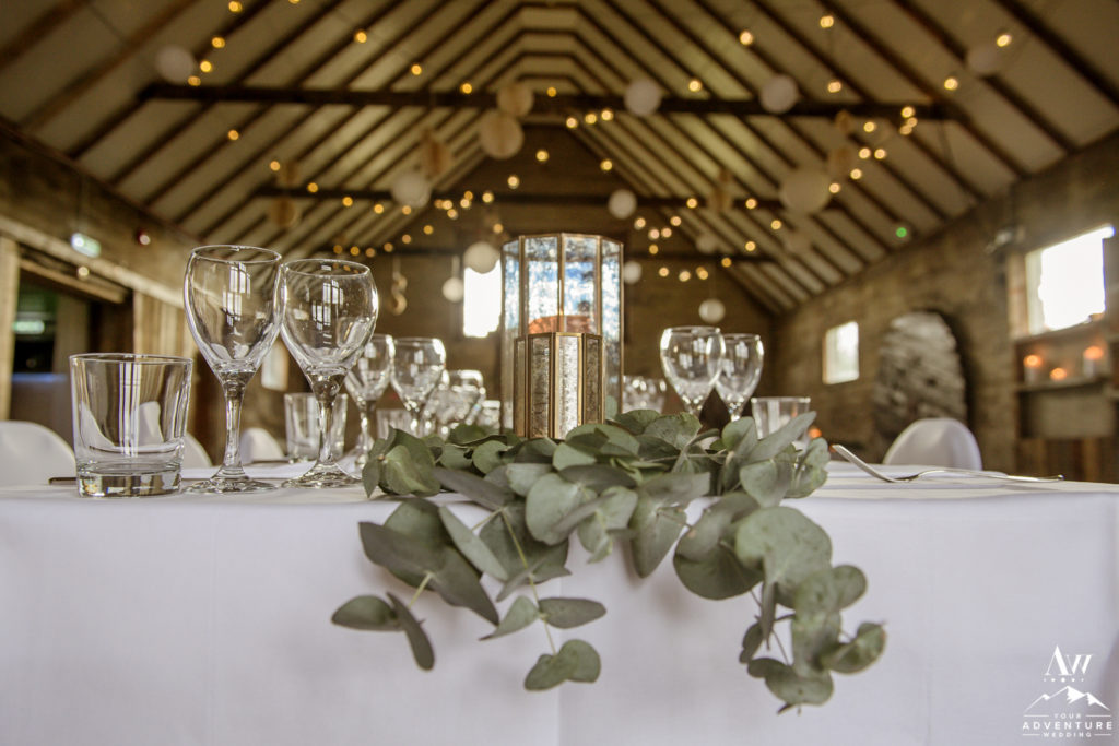 Iceland Wedding Reception Decor with Eucalyptus