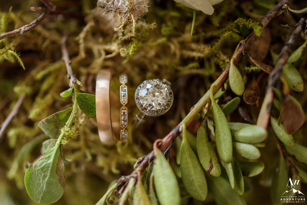 Iceland Wedding Rings in Greenery