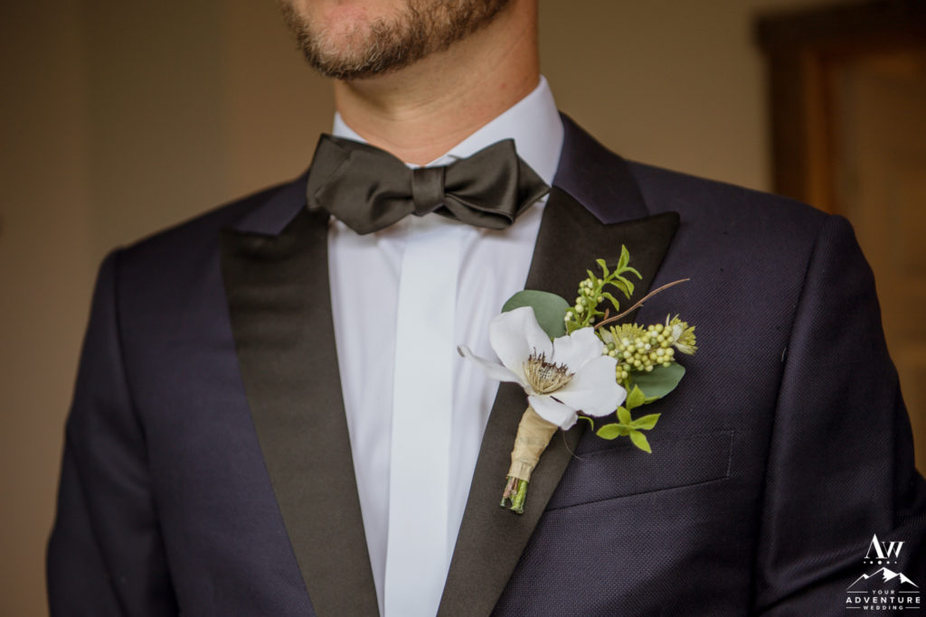 Navy Tux and Iceland Wedding Buttonhole Flower