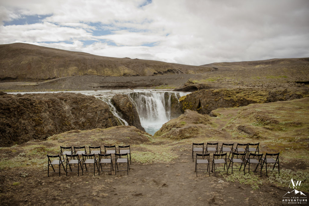 Iceland Hidden waterfall Wedding Ceremony Setup