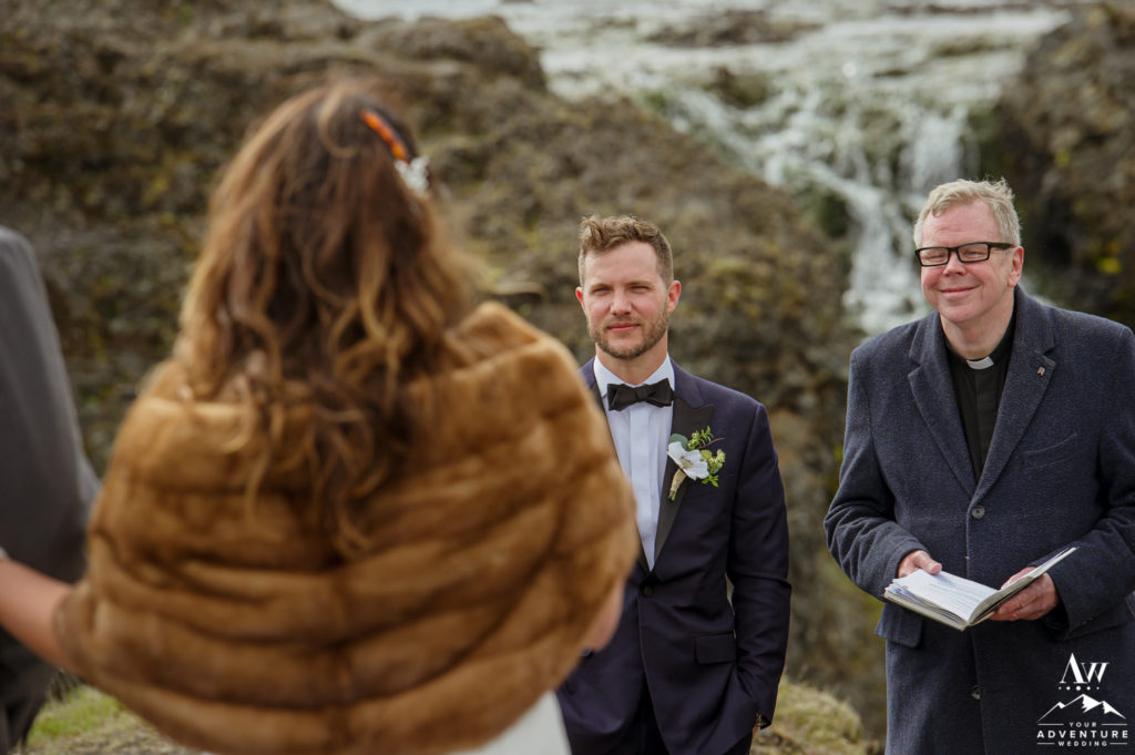 Iceland Wedding Groom seeing his bride come down the aisle