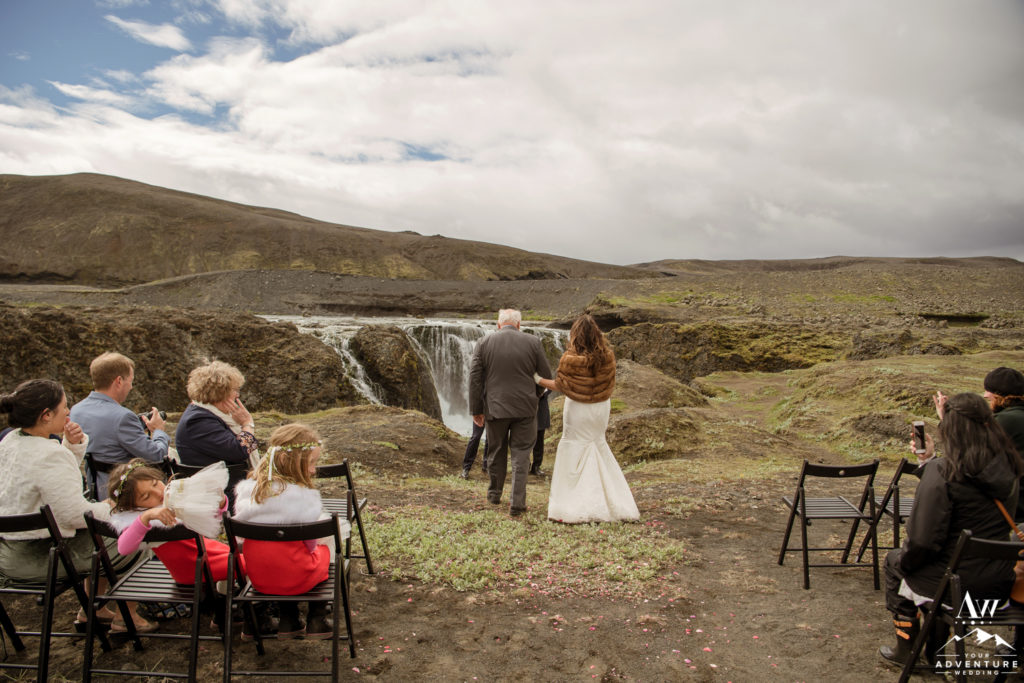 Iceland Wedding Father giving his daughter away