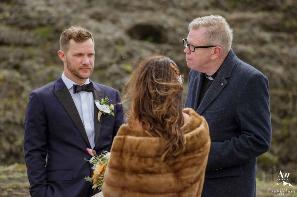 Iceland Wedding Ceremony at a Hidden waterfall