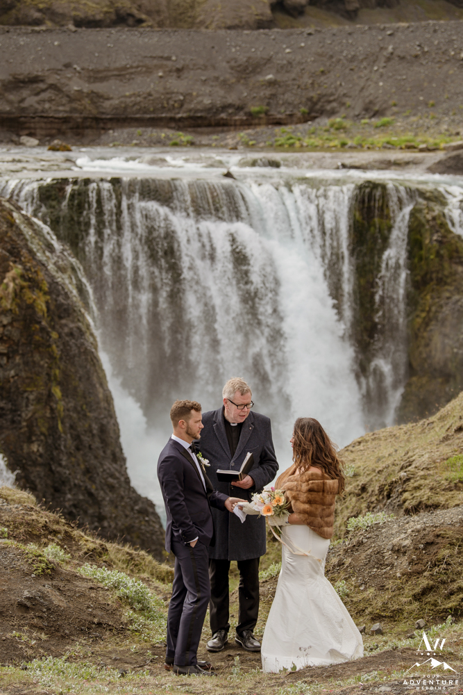 Iceland Wedding Ceremony at Private Waterfall