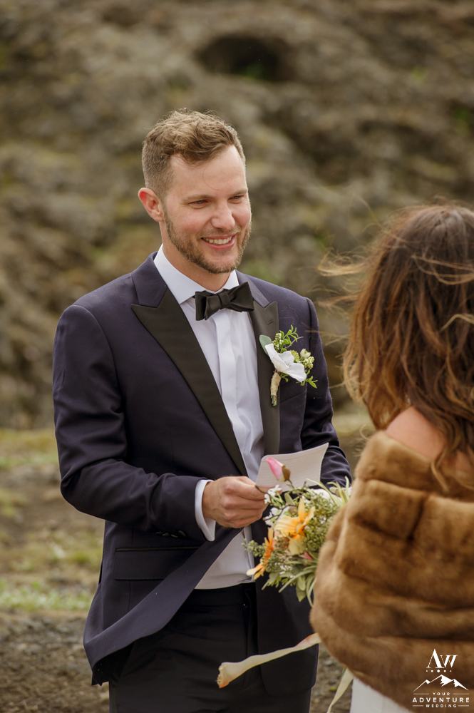 Groom Smiling during Iceland wedding ceremony