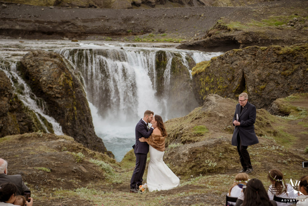 Iceland Wedding Ceremony Couple Kissing