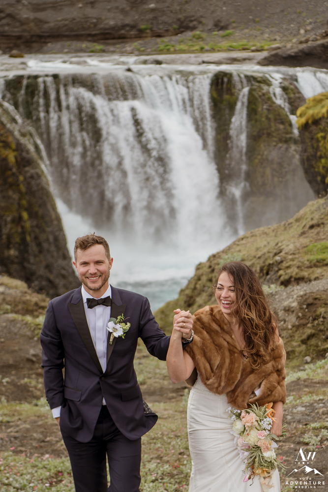 Iceland Wedding Couple Celebrating being married