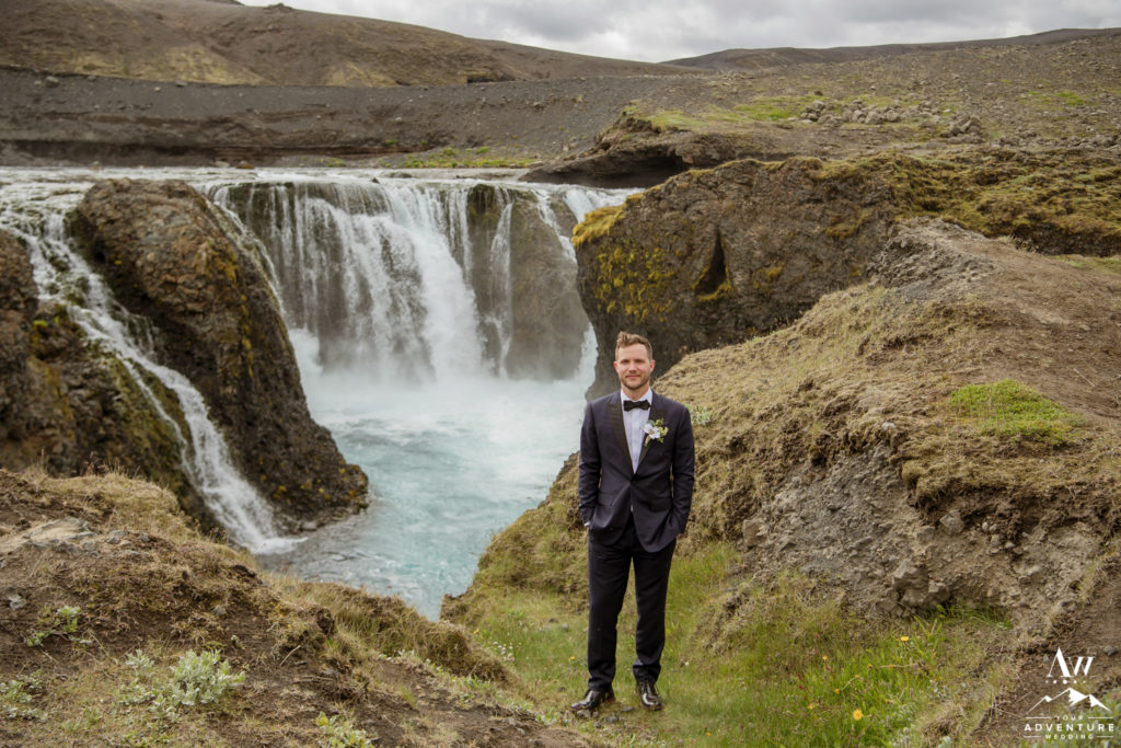 Iceland Wedding Groom at a Secret Waterfall