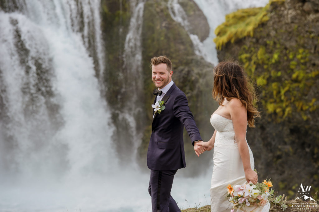 Dreamy Iceland Wedding Couple at a Hidden waterfall