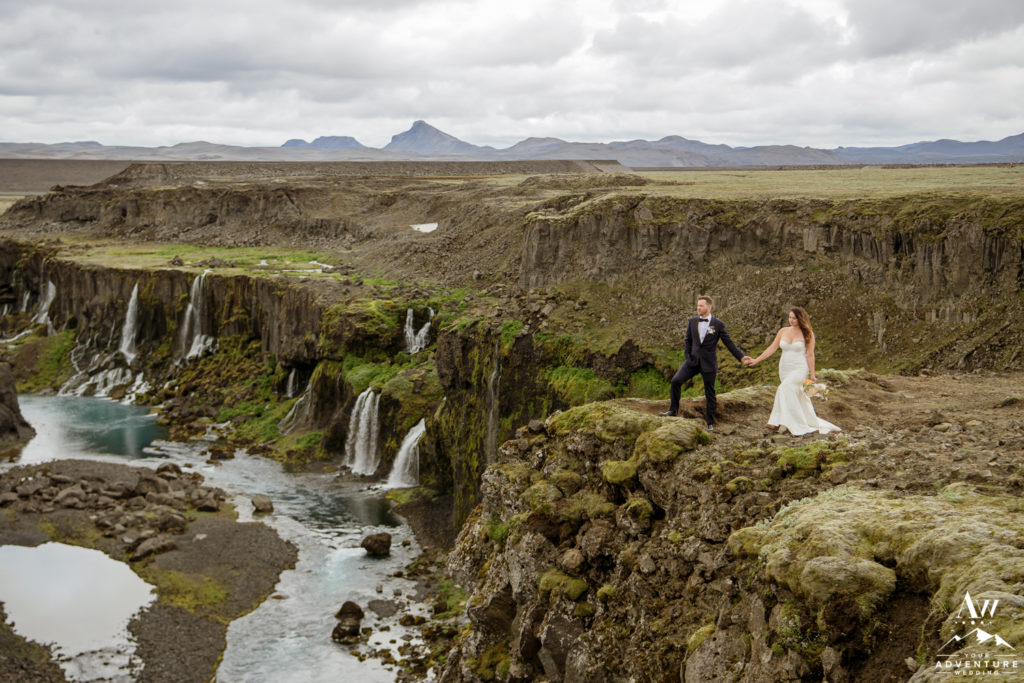 Iceland Wedding couple at a offbeat Canyon
