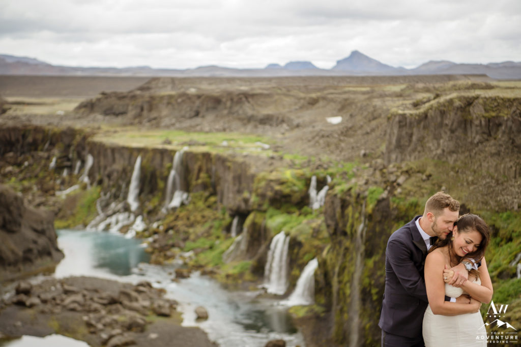 Intimate Iceland Wedding Photos at a Canyon Waterfall