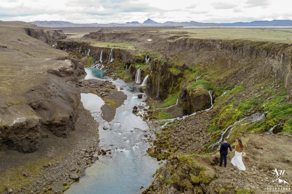 Drone wedding photos in front of a secret canyon