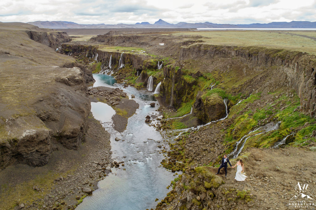 Iceland Wedding Photos from a drone Canyon Wedding Photos