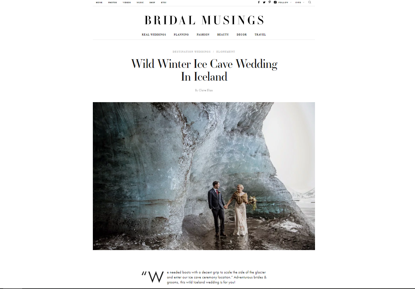 Winter Blue Ice Cave Elopement