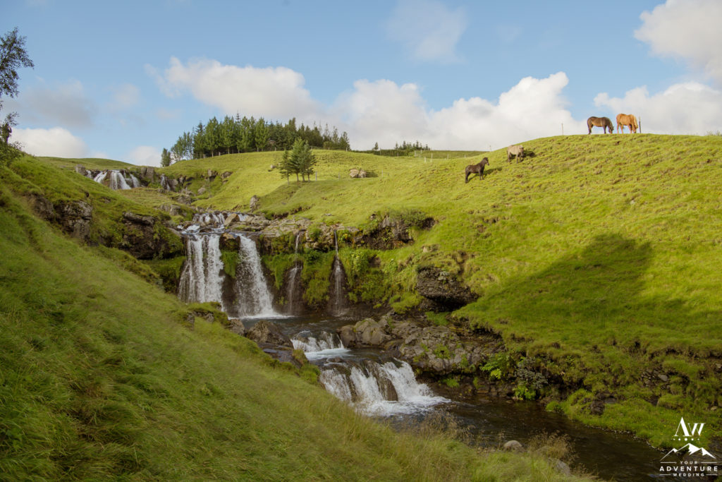 Three tiered private waterfall in Iceland