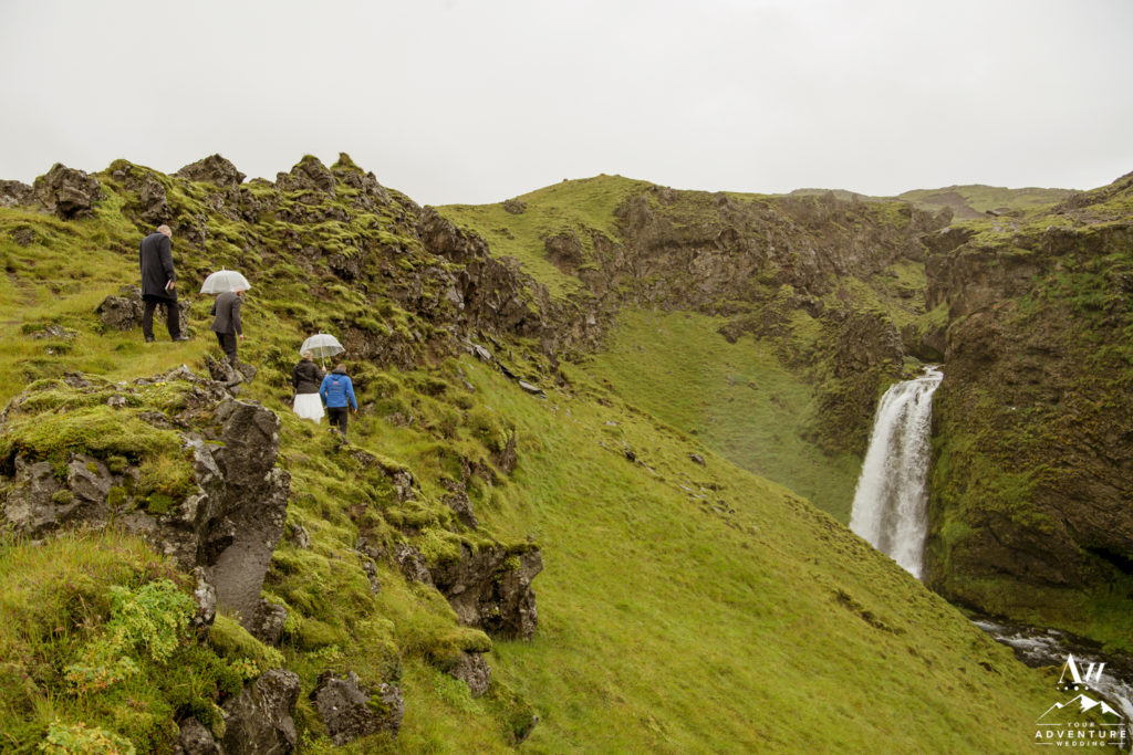 Iceland Wedding Couple hiking to ceremony spot