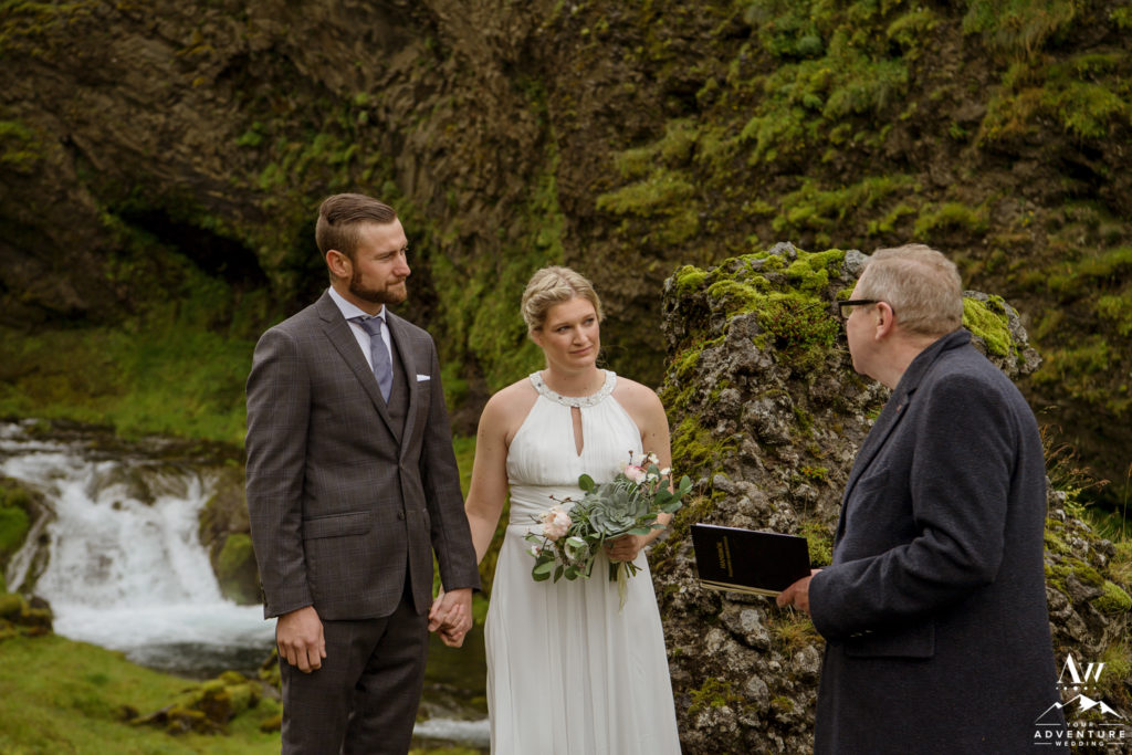 Iceland wedding ceremony at a private waterfall