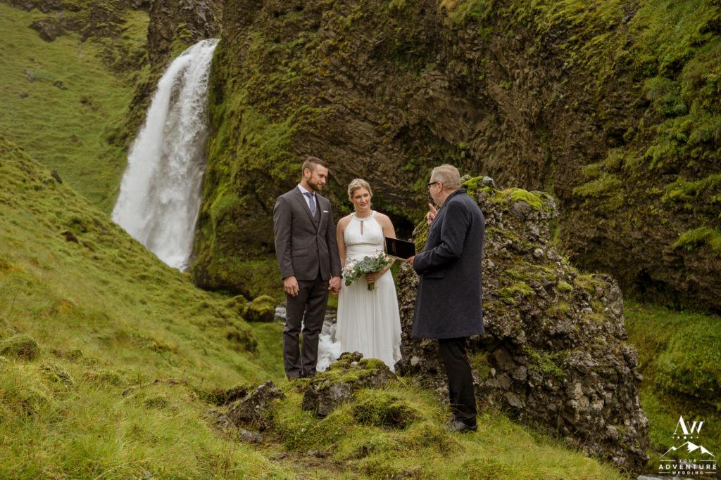 Iceland wedding couple during ceremony