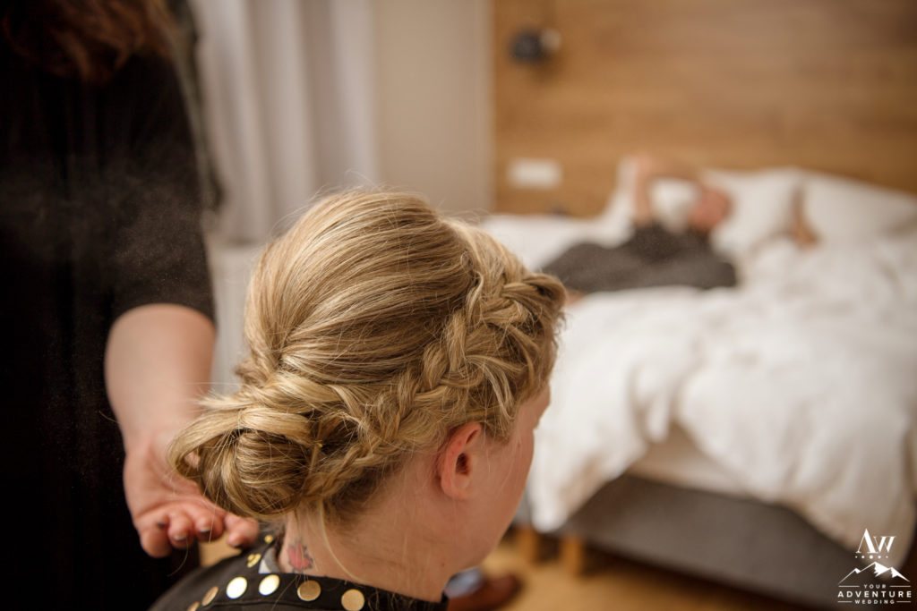 Iceland Elopement Bride getting ready at Hotel Stracta
