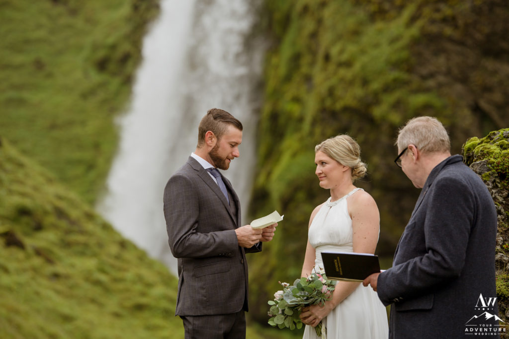 Iceland Groom reading his vows