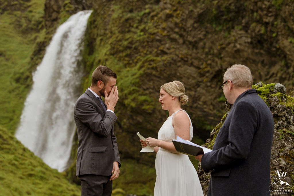 Groom crying during Brides Iceland wedding vows